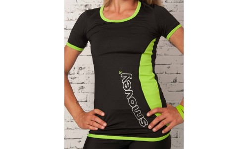 FITNESS SHIRT - BLACK-GREEN | women